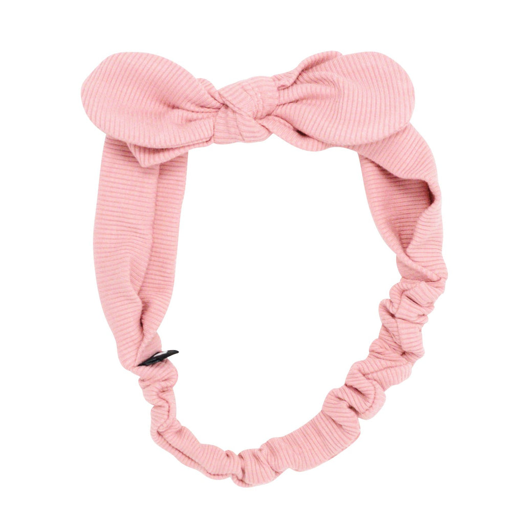 Headband With Bow - Dusty Pink Ribbed - Sweet Bamboo