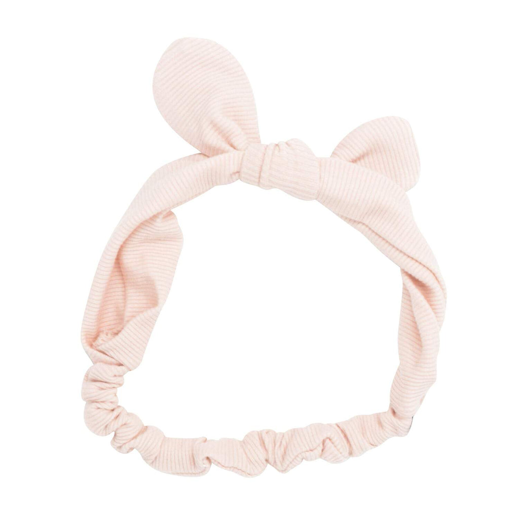 Headband With Bow - Pink Blush Ribbed - Sweet Bamboo