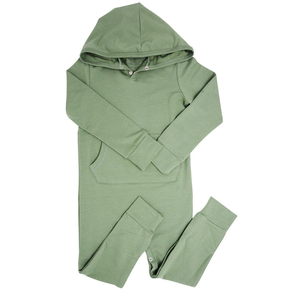 Hooded Pocket Romper - Army Green Rompers sweetbambooclothing