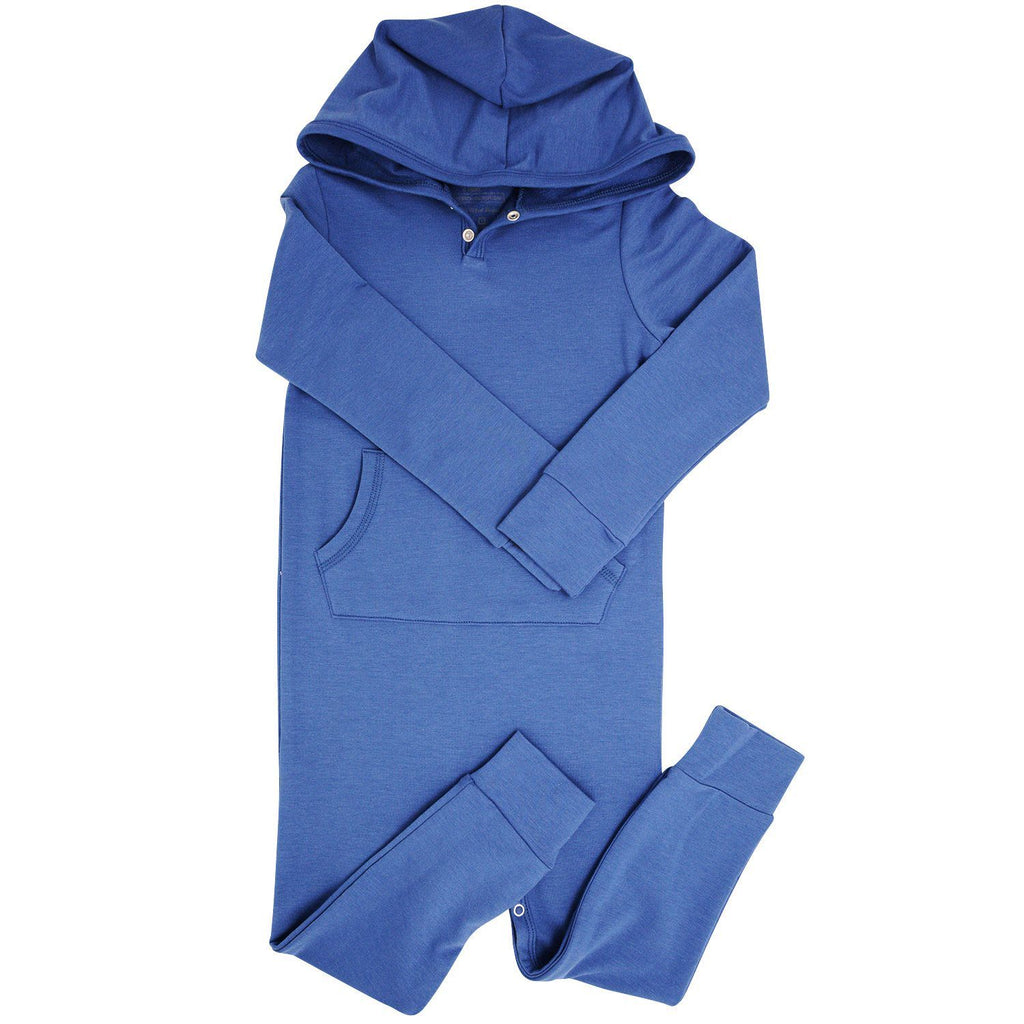 Hooded Pocket Romper - Bijou Blue Rompers sweetbambooclothing