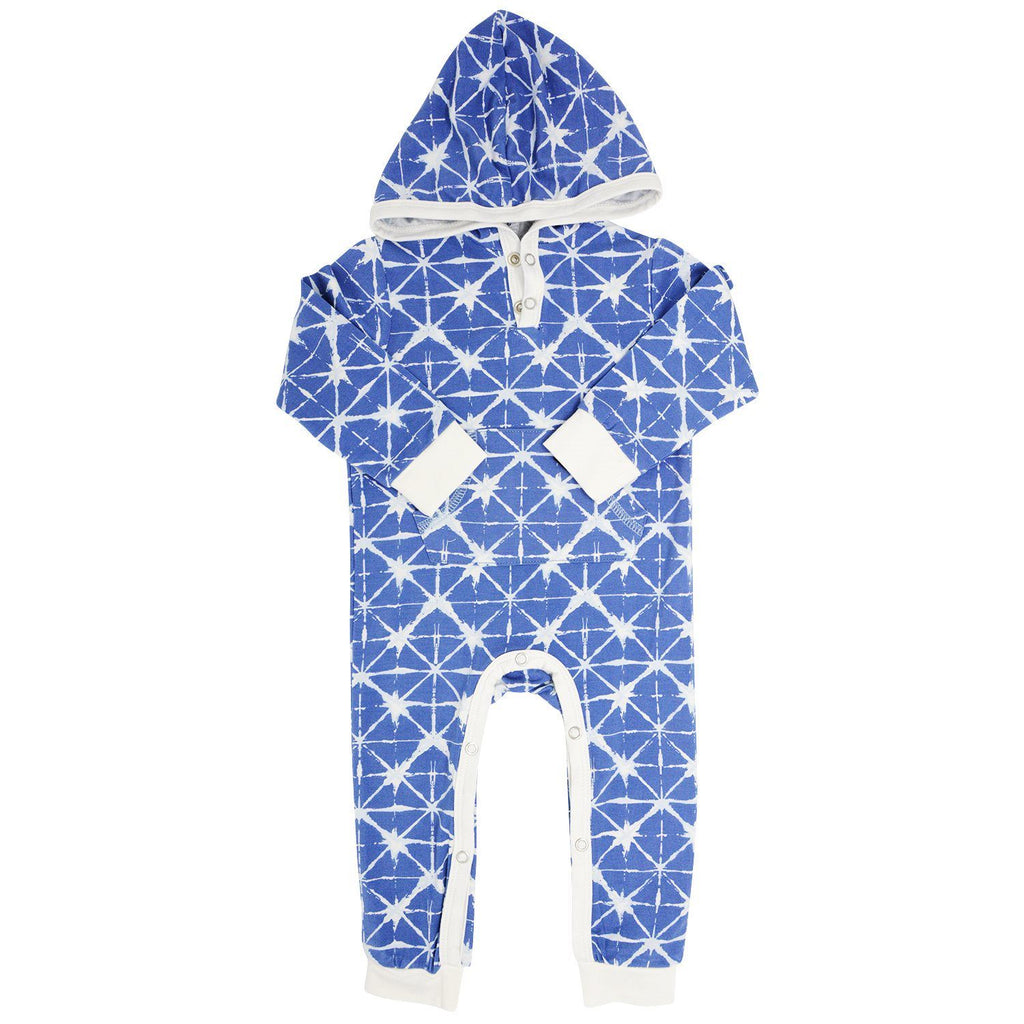 Hooded Pocket Romper - Geo Grid Blue Rompers sweetbambooclothing