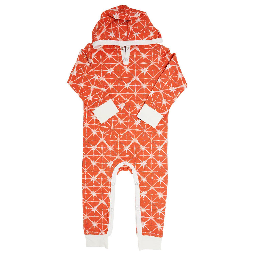 Hooded Pocket Romper - Geo Grid Orange Rompers sweetbambooclothing