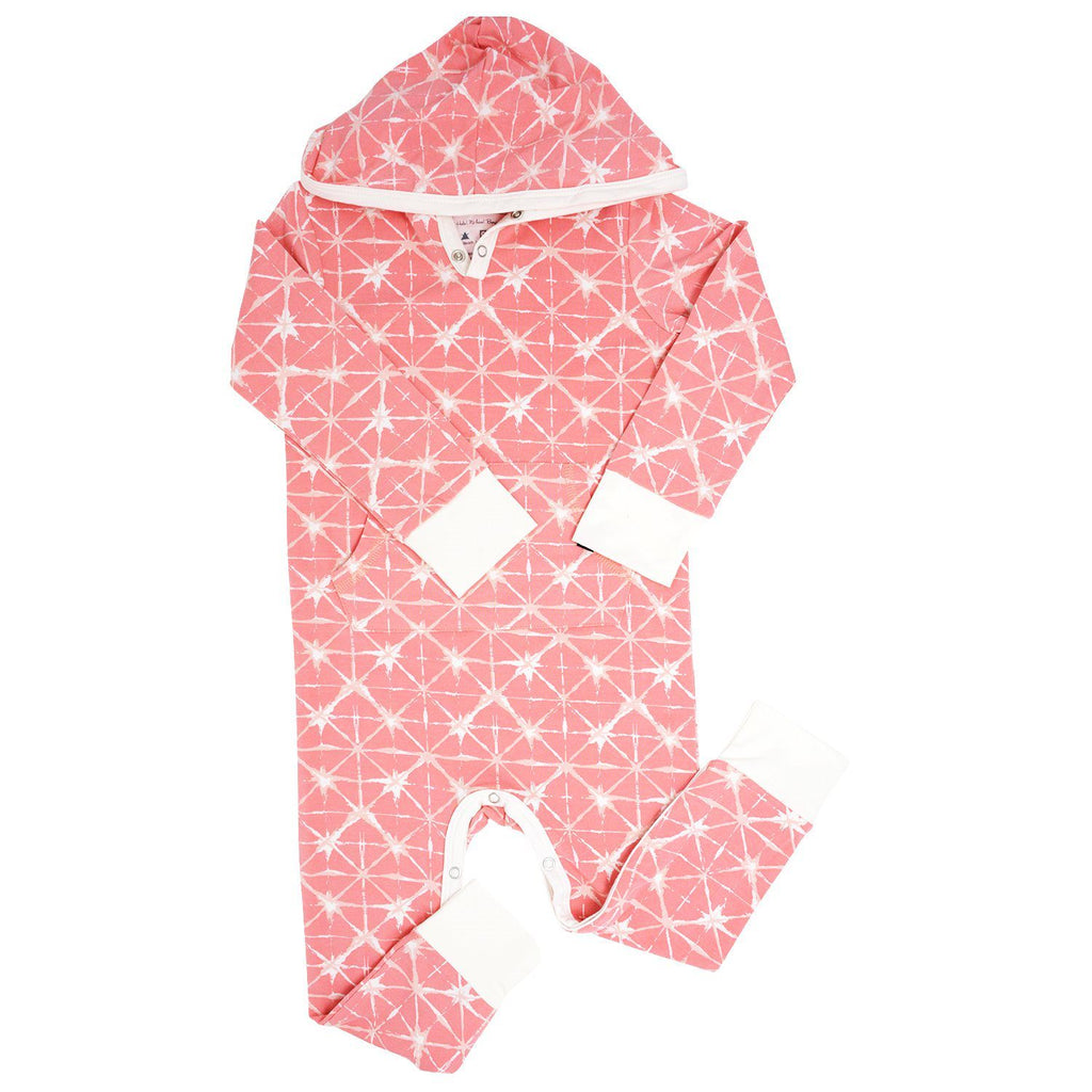 Hooded Pocket Romper - Geo Grid Pink Rompers sweetbambooclothing