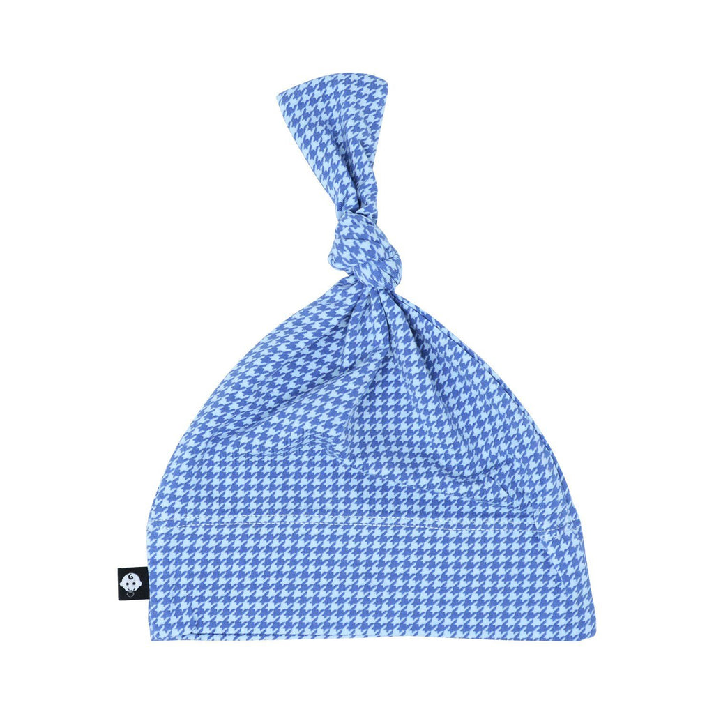 Knot Hat - Blue Houndstooth - Sweet Bamboo