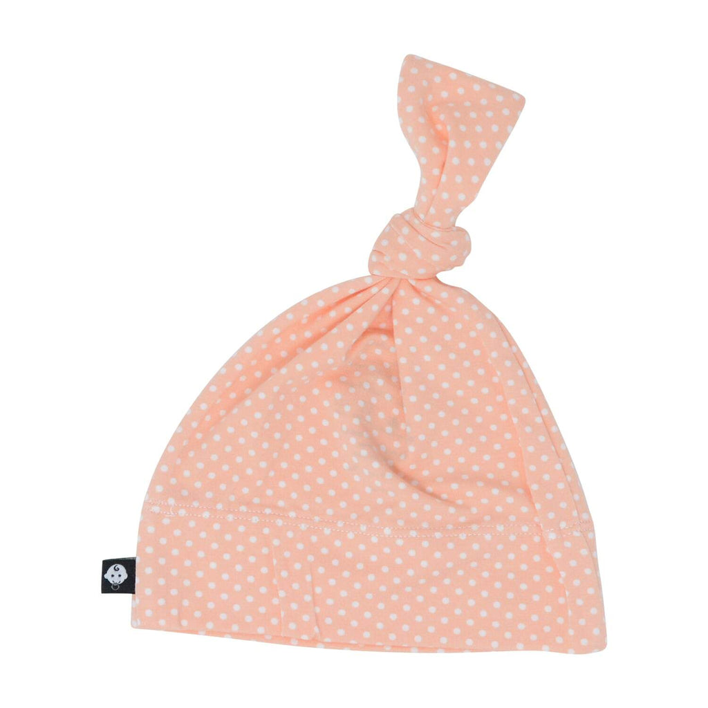 Knot Hat - Peach Dots - Sweet Bamboo