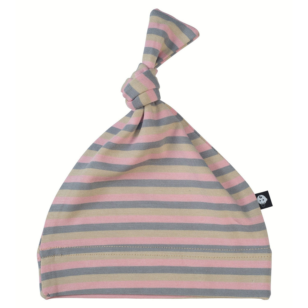 Knot Hat - Pink 3 Color Stripe - Sweet Bamboo