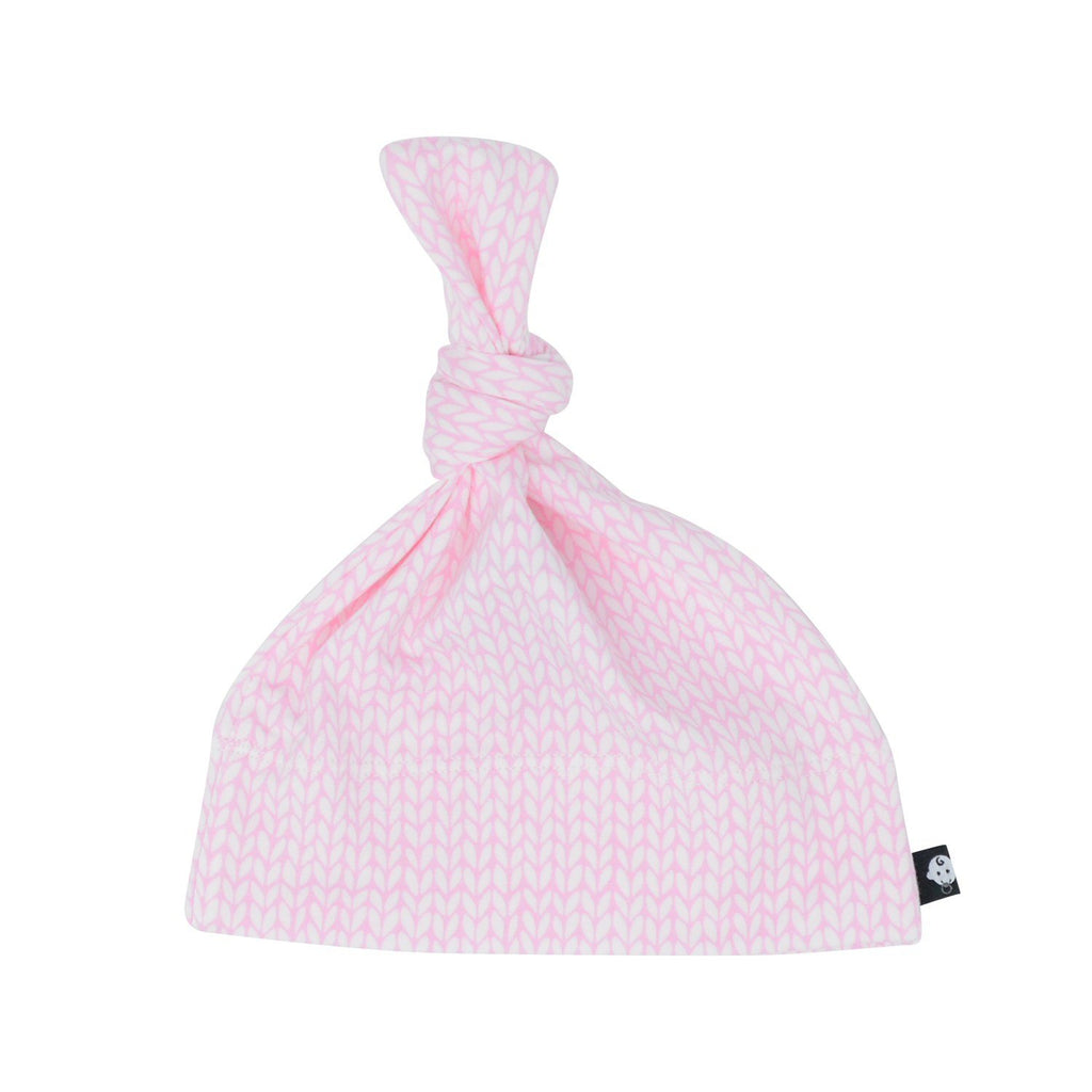Knot Hat -Pink Knit Weave - Sweet Bamboo