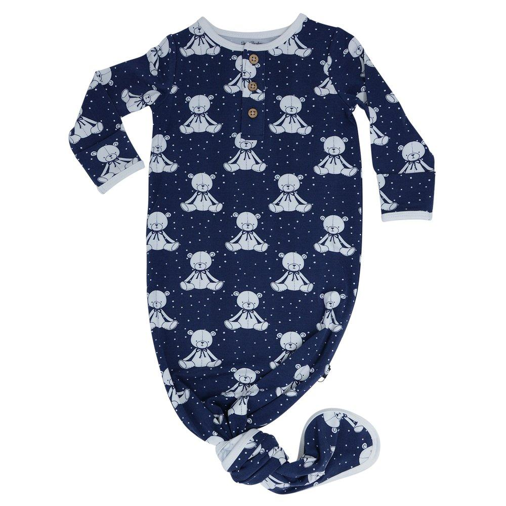 Knotted Gown -Bears Navy - Sweet Bamboo