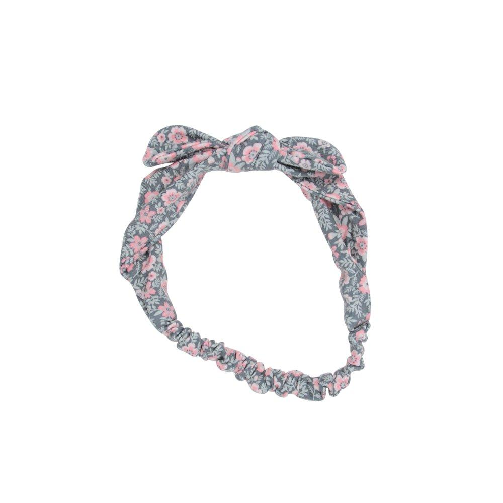 Knotted Headband - Flower Charcoal - Sweet Bamboo