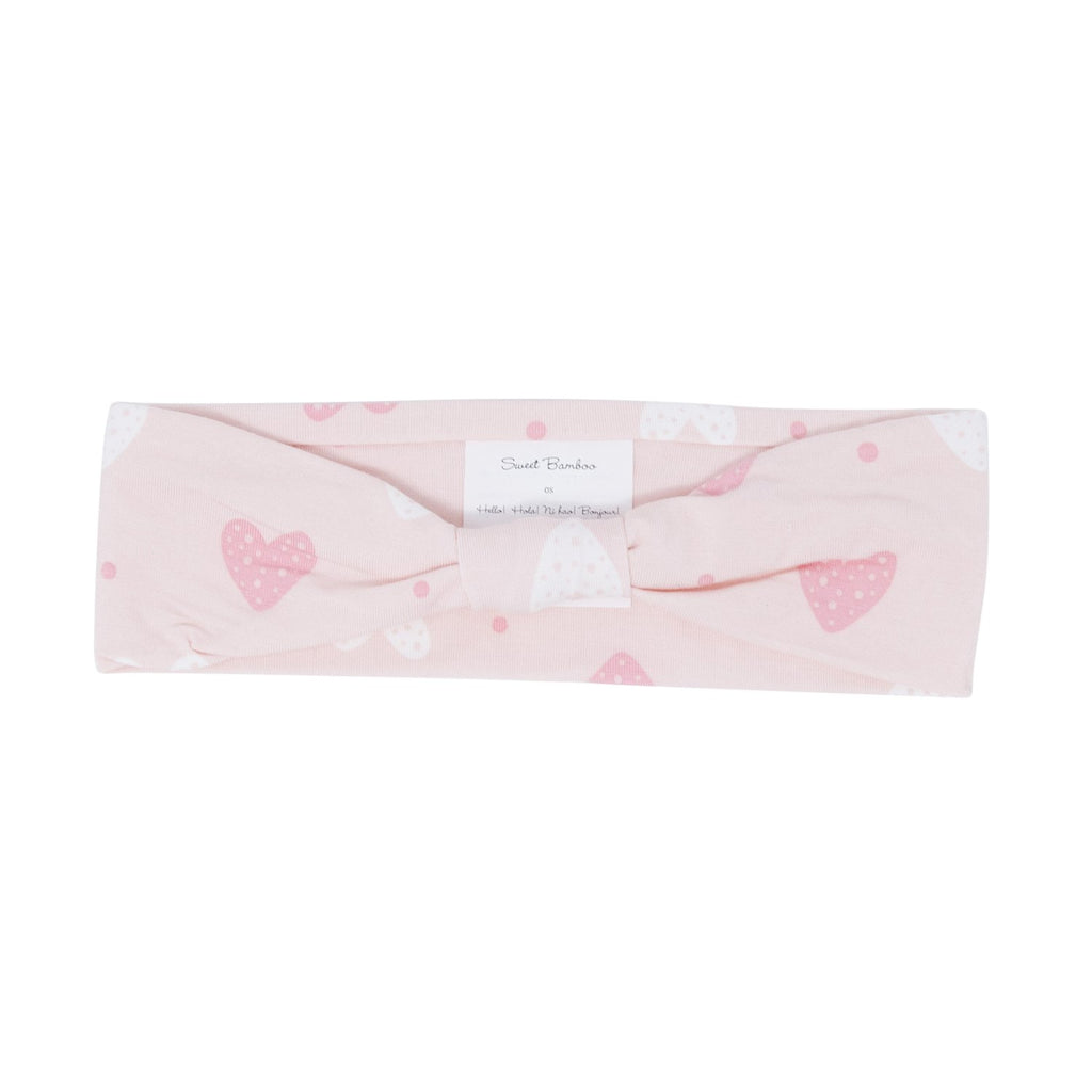 Knotted Headband - Pink Hearts - Sweet Bamboo