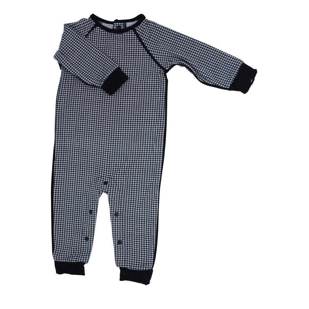 Long Romper c/ Back Placket - Black Houndstooth - Sweet Bamboo