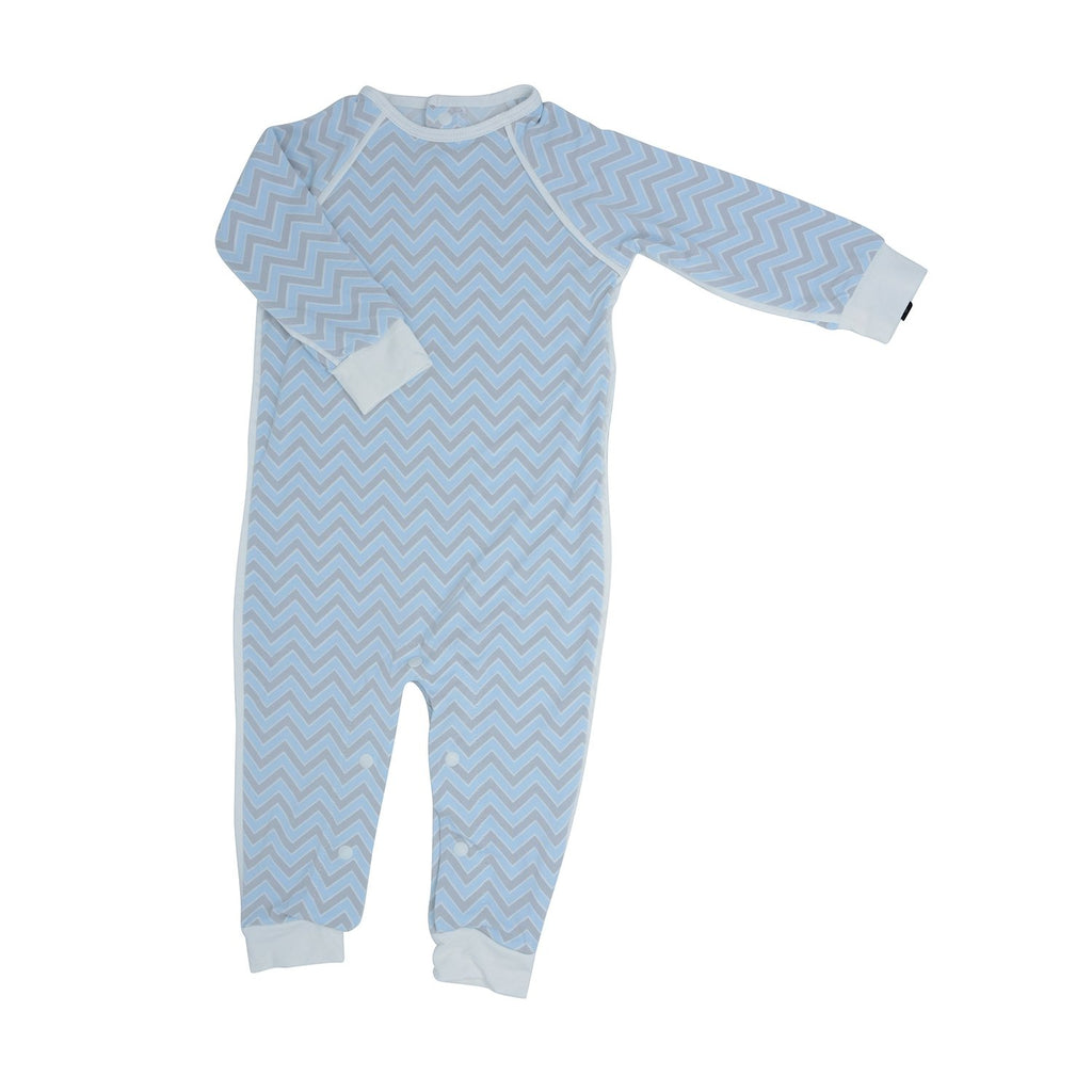 Long Romper c/ Back Placket - Blue Chevron - Sweet Bamboo