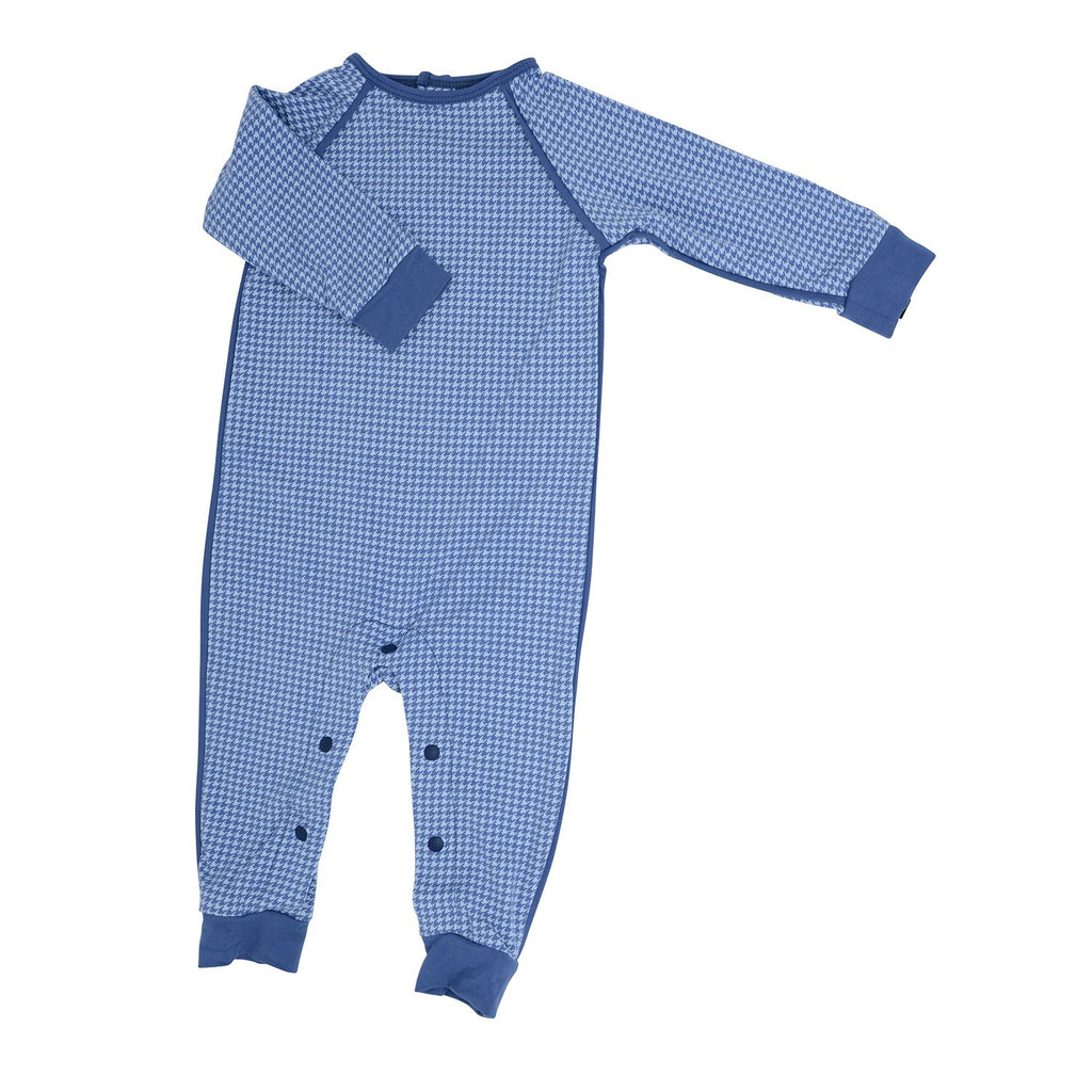 Long Romper c/ Back Placket - Blue Houndstooth - Sweet Bamboo
