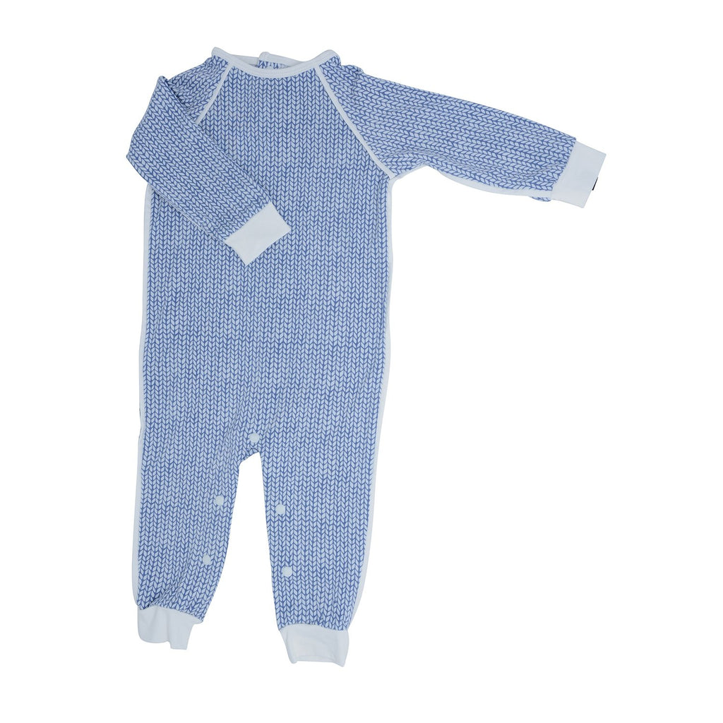 Long Romper c/ Back Placket - Blue Knit Weave - Sweet Bamboo