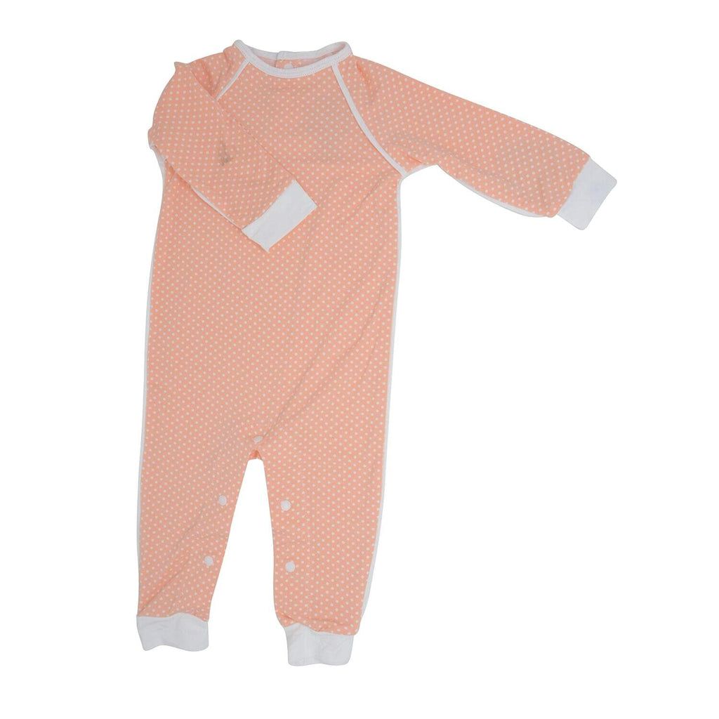 Long Romper c/ Back Placket - Peach Dots - Sweet Bamboo