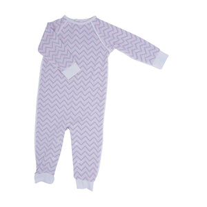 Long Romper c/ Back Placket - Pink Chevron - Sweet Bamboo