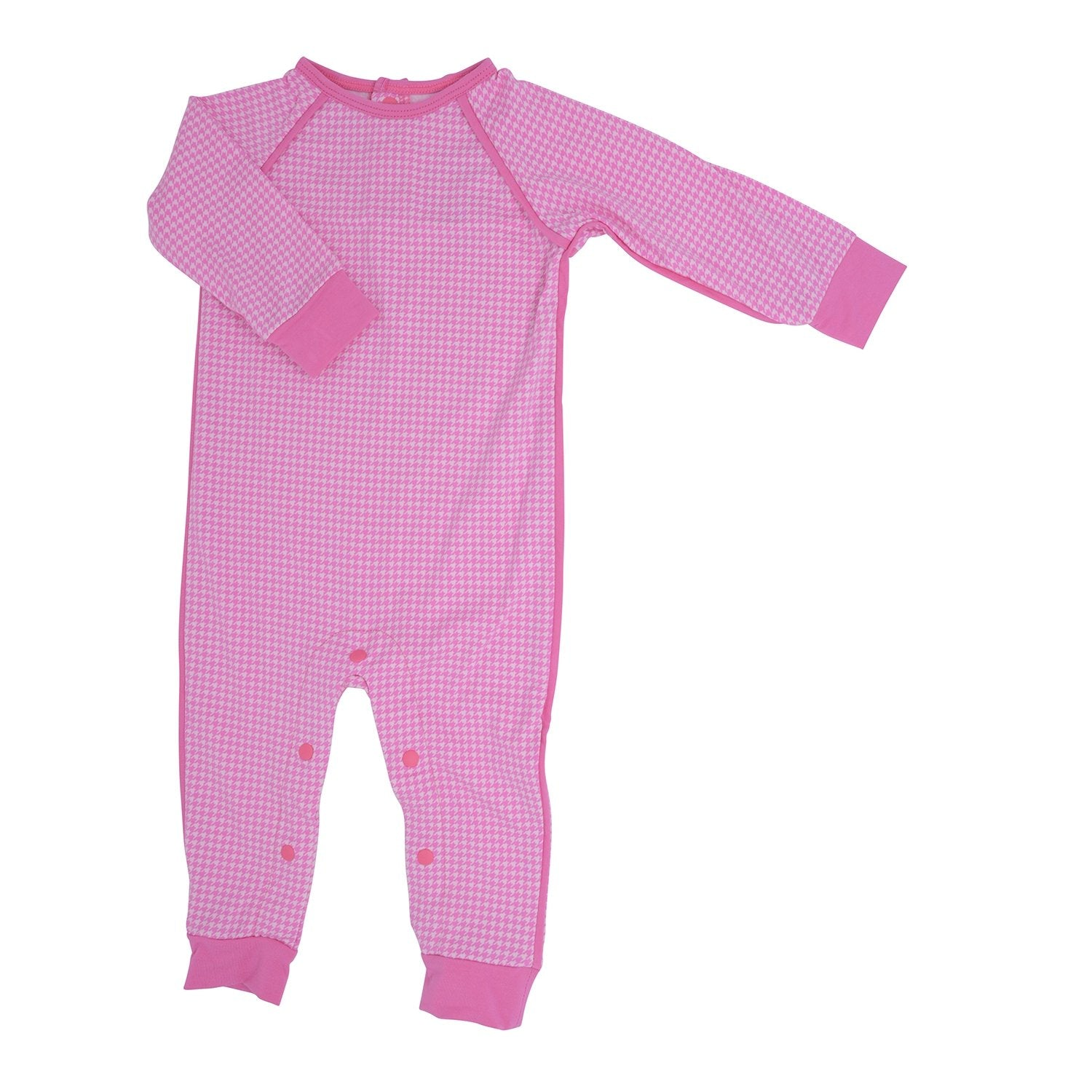 Long Romper c/ Back Placket - Pink Houndstooth - Sweet Bamboo