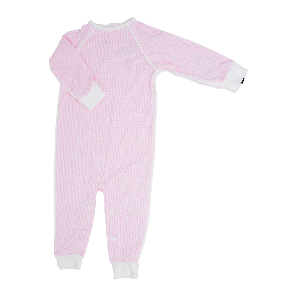 Long Romper c/ Back Placket - Pink Knit Weave - Sweet Bamboo