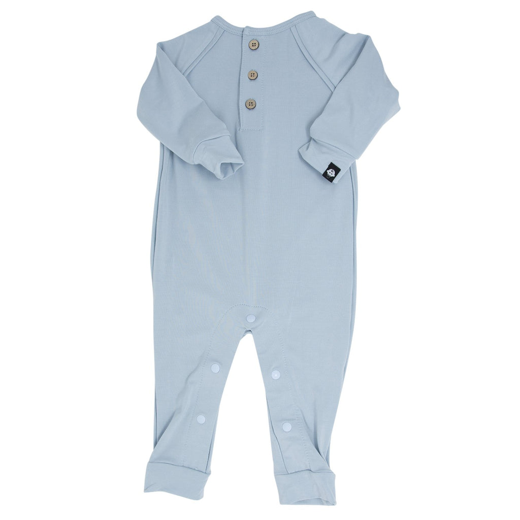 Long Romper c/ Front Placket - Baby Blue Solid - Sweet Bamboo