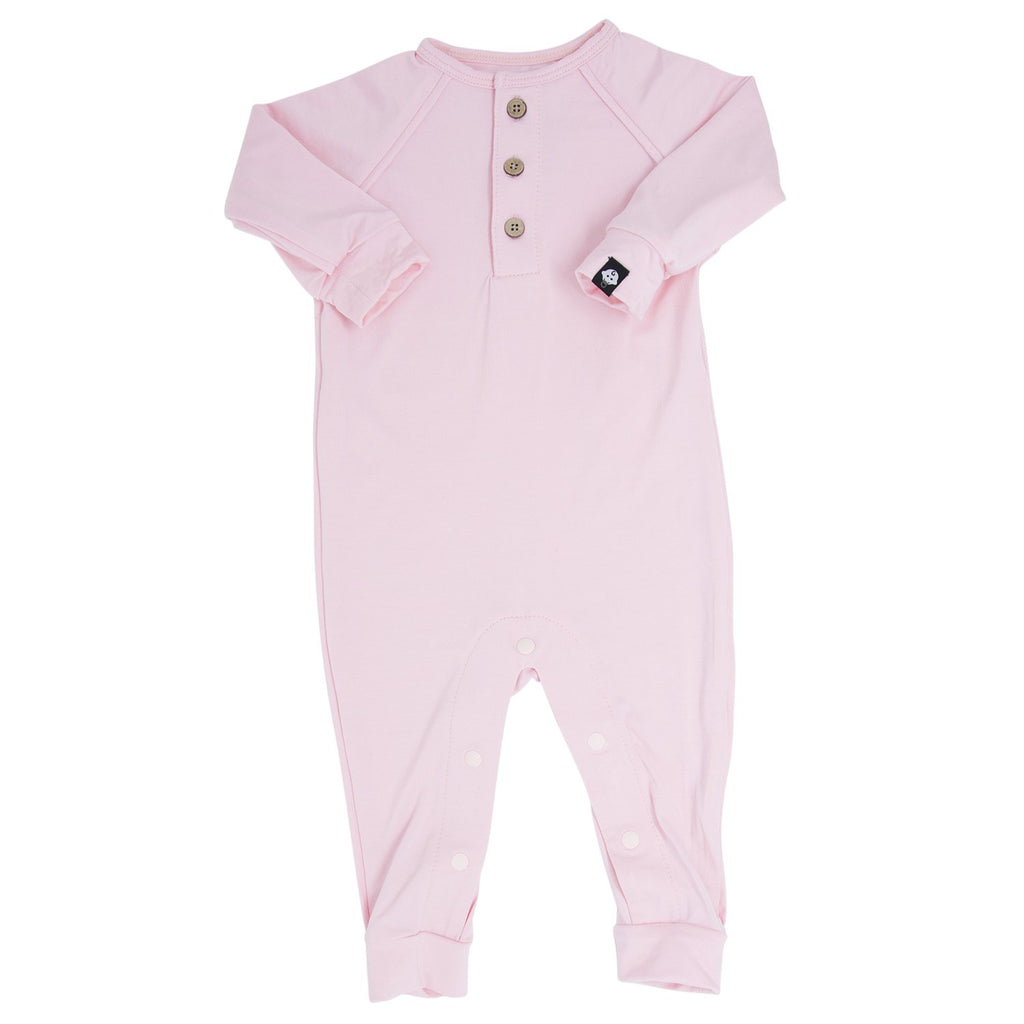 Long Romper c/ Front Placket - Baby Pink Solid - Sweet Bamboo