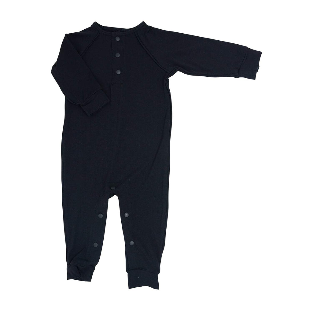 Long Romper c/ Front Placket - Black Solid - Sweet Bamboo