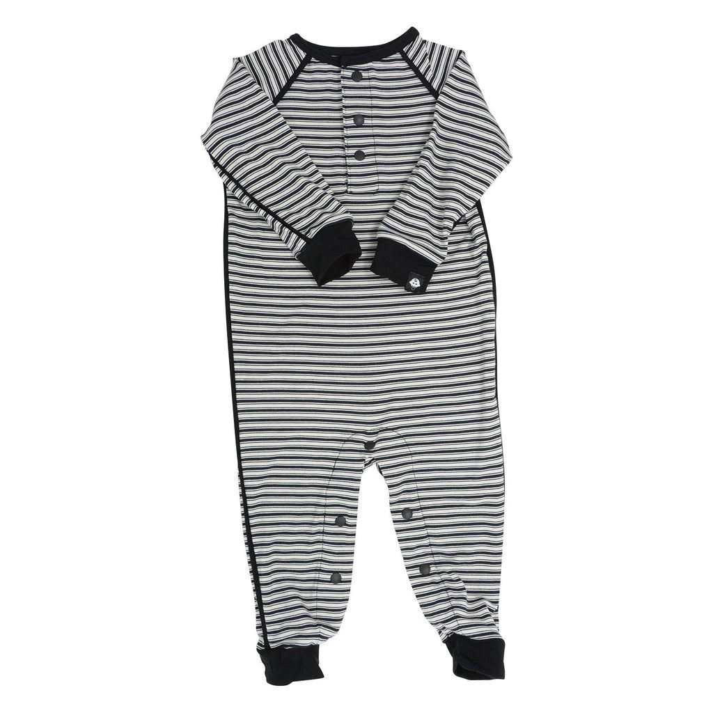 Long Romper c/ Front Placket - Black Ticking Stripe - Sweet Bamboo
