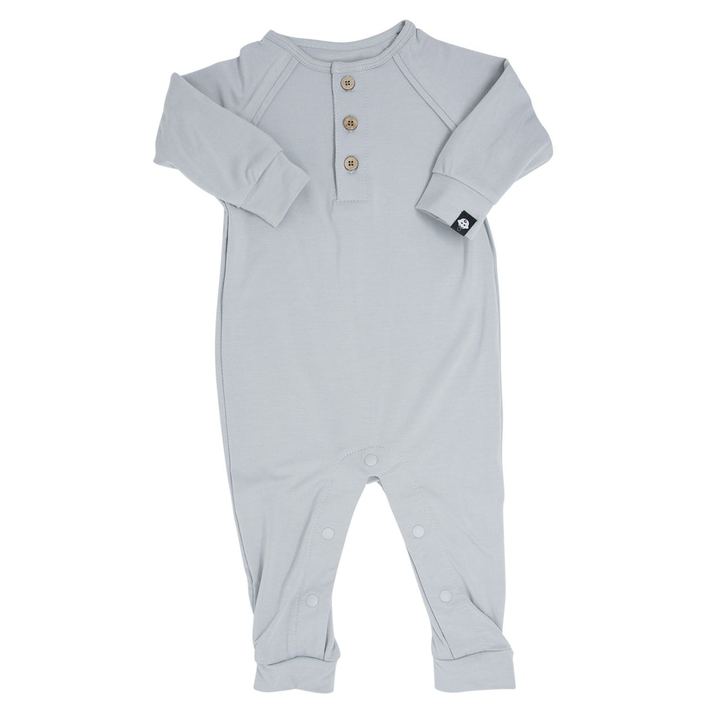 Long Romper c/ Front Placket - Grey Solid - Sweet Bamboo