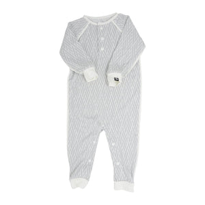 Long Romper c/ front Placket - Modern Weave Grey with White - Sweet Bamboo