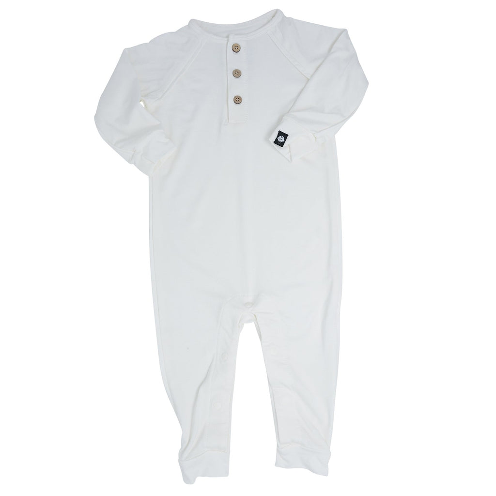 Long Romper c/ Front Placket - White Solid - Sweet Bamboo
