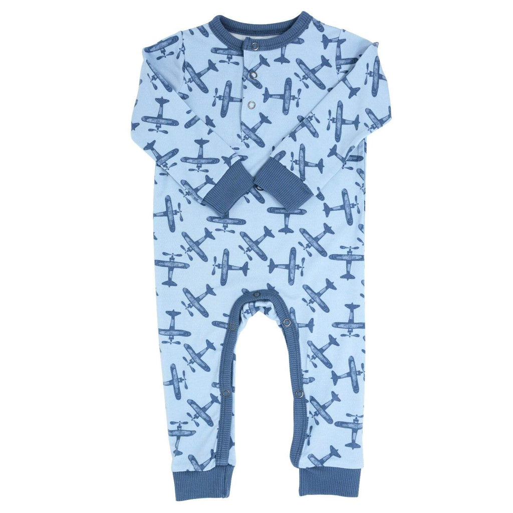 Long Romper w/ Front Placket - Airplane Blue - Sweet Bamboo