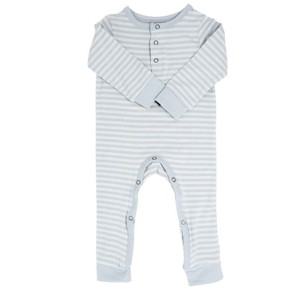 Long Romper w/ Front Placket - Blue & Grey Stripe - Sweet Bamboo