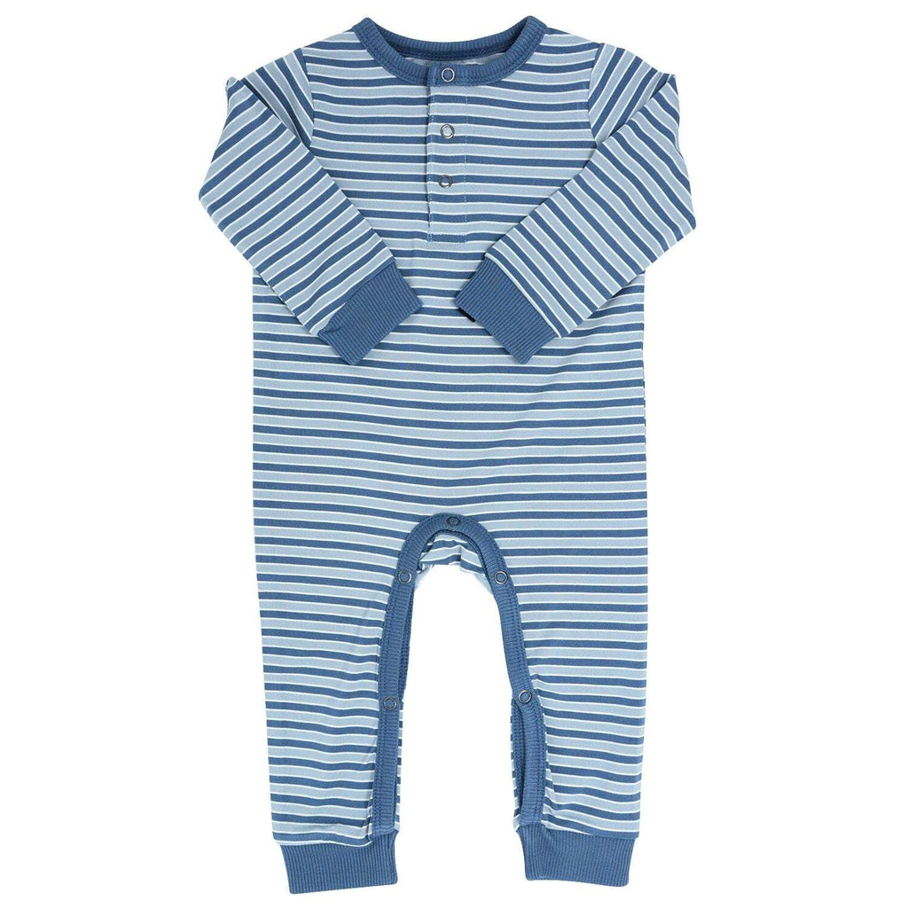Long Romper w/ Front Placket - Blue Stripe - Sweet Bamboo