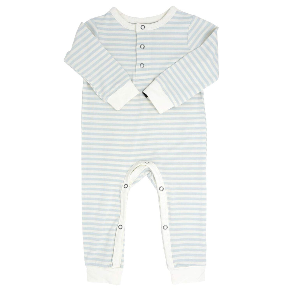 Long Romper w/ Front Placket - Blue & White Stripe - Sweet Bamboo