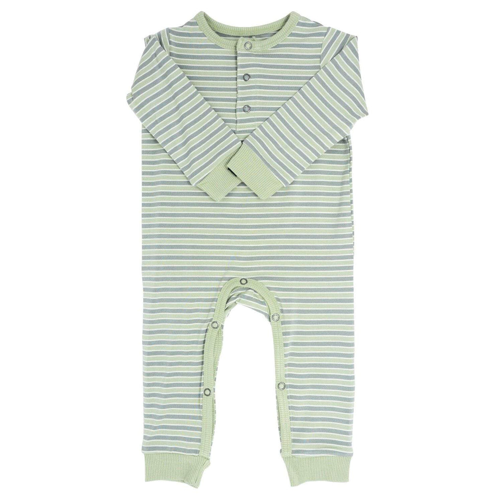 Long Romper w/ Front Placket - Green Stripe - Sweet Bamboo
