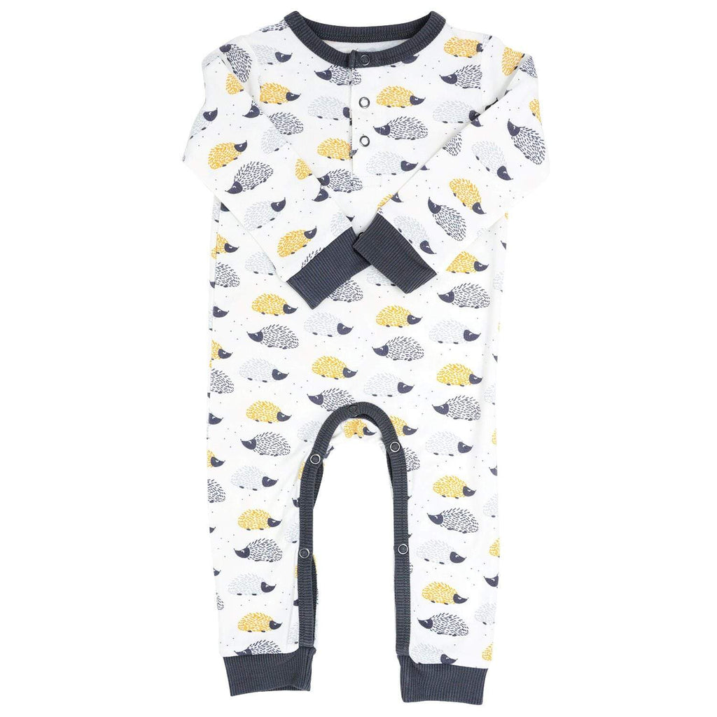 Long Romper w/ Front Placket - Hedgehog - Sweet Bamboo