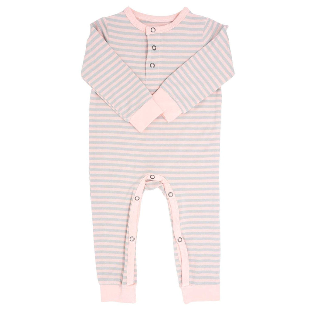 Long Romper w/ Front Placket - Pink & Grey Stripe - Sweet Bamboo