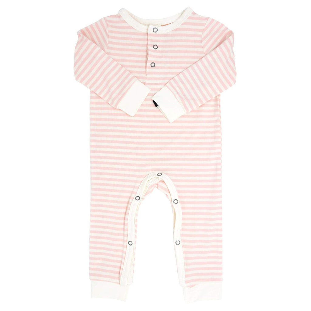 Long Romper w/ Front Placket - Pink & White Stripe - Sweet Bamboo