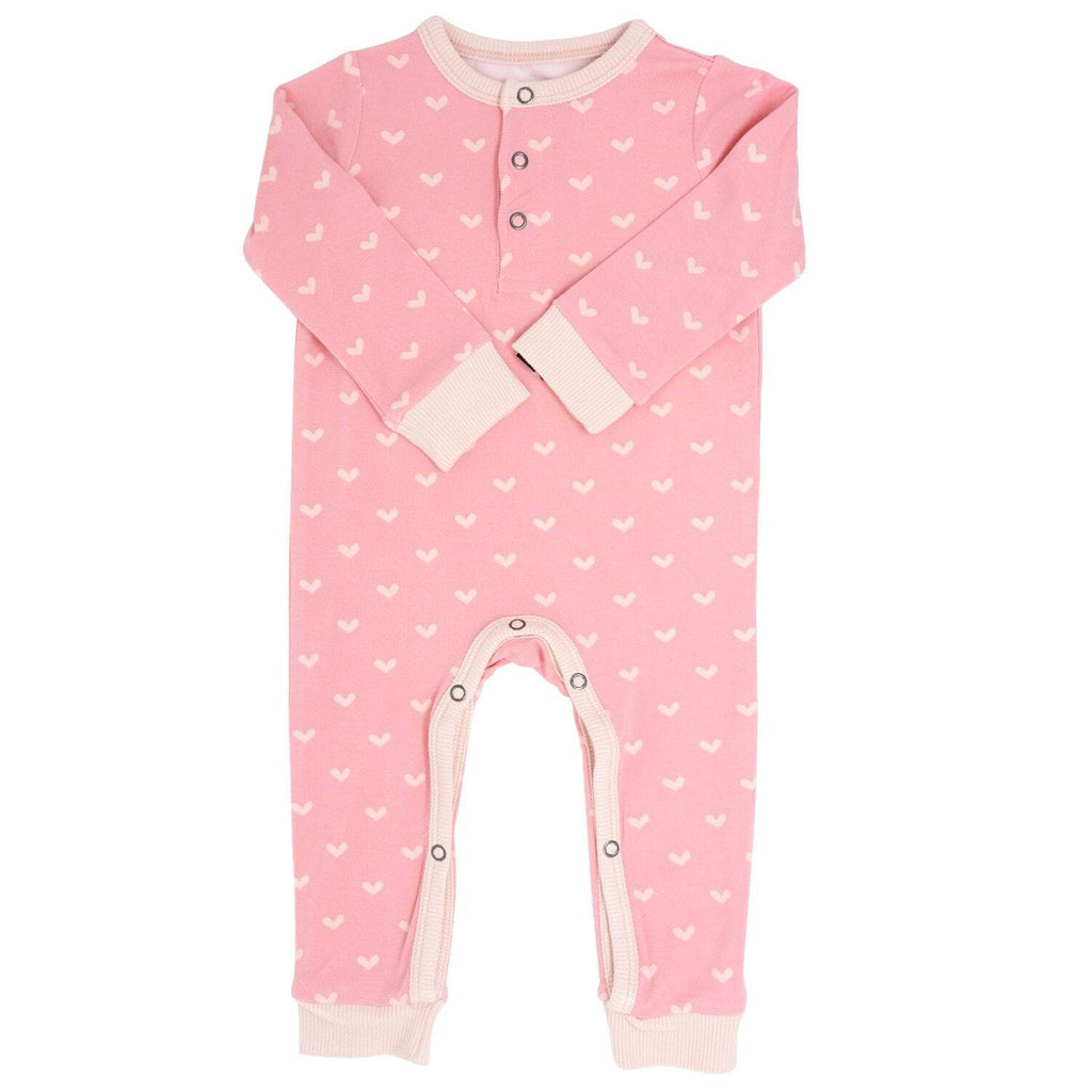 Long Romper w/ Front Placket - Polka Hearts Pink - Sweet Bamboo