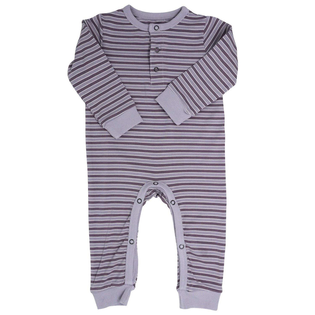 Long Romper w/ Front Placket - Purple Stripe - Sweet Bamboo
