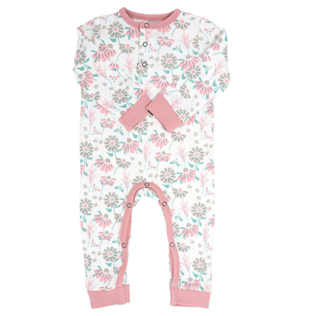 Long Romper w/ Front Placket - Retro Flower - Sweet Bamboo