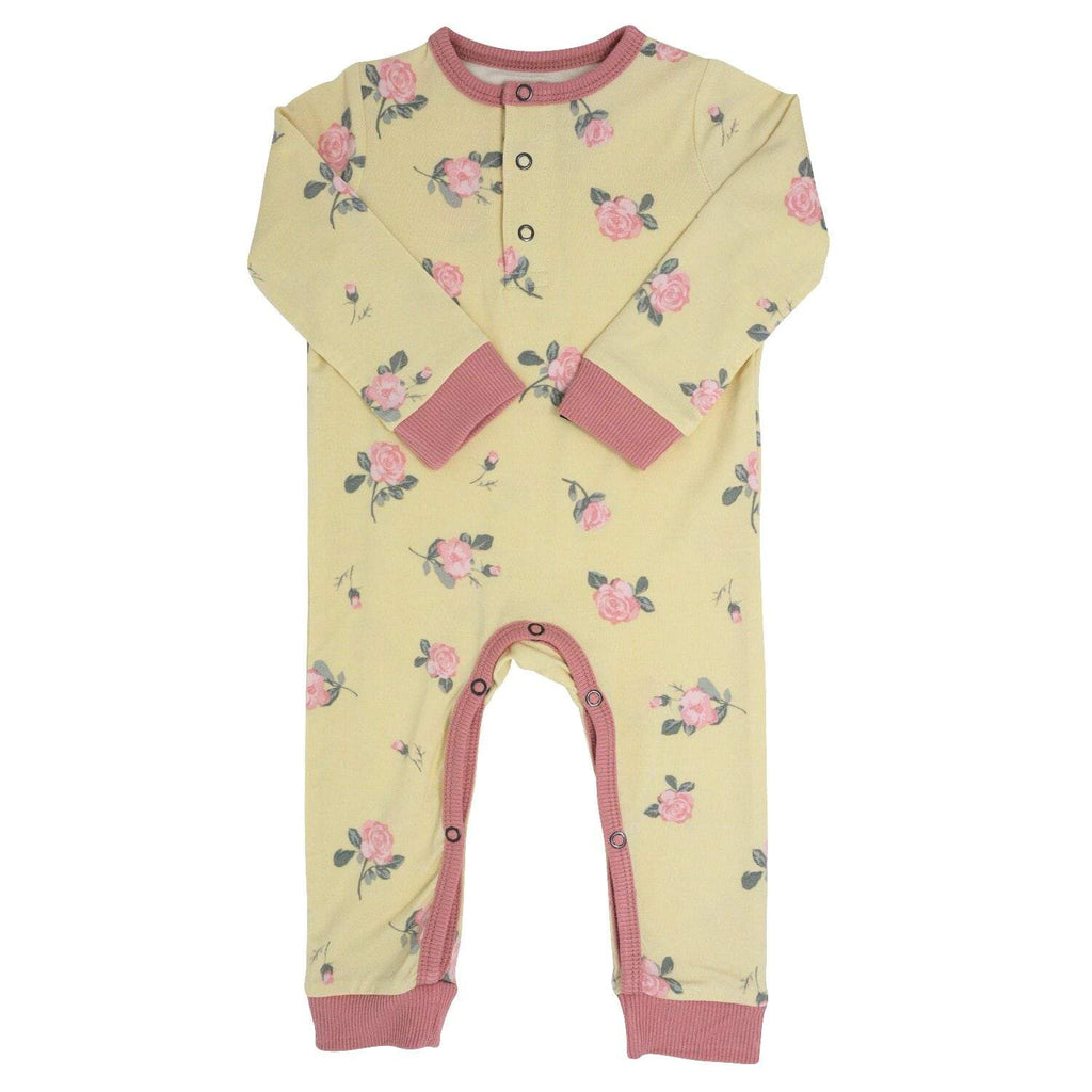 Long Romper w/ Front Placket - Roses Sand - Sweet Bamboo