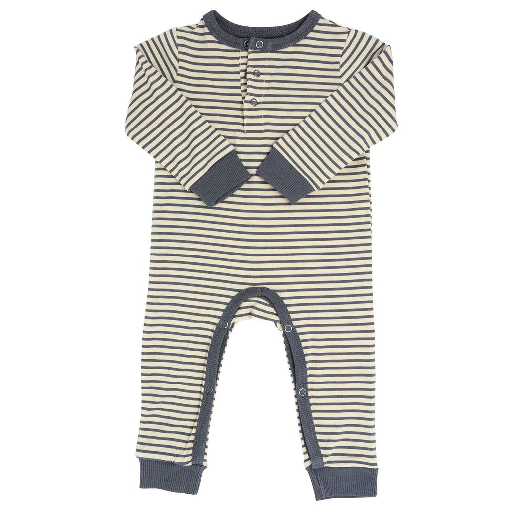 Long Romper w/ Front Placket - Sand with Black Mini Stripe - Sweet Bamboo