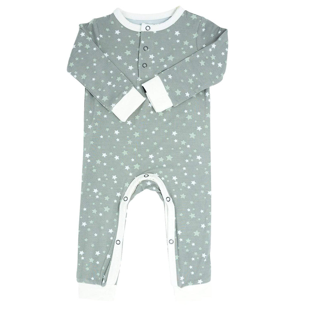 Long Romper w/ Front Placket - Stars Green - Sweet Bamboo