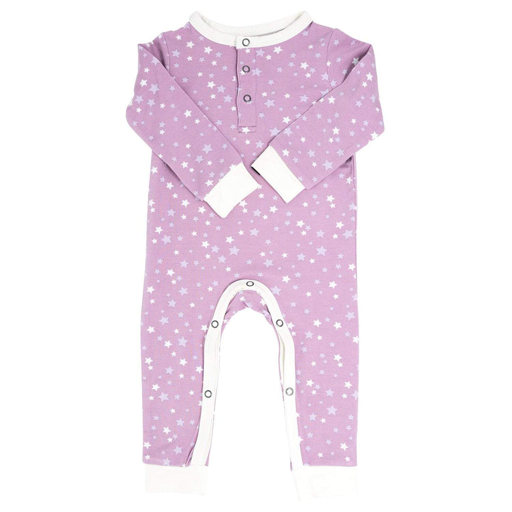 Long Romper w/ Front Placket - Stars Purple - Sweet Bamboo