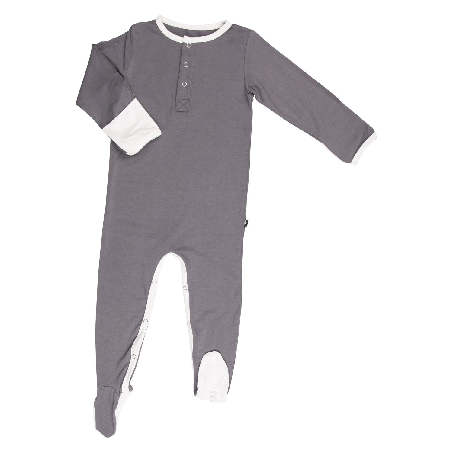 Neutral Footie - Charcoal - Sweet Bamboo