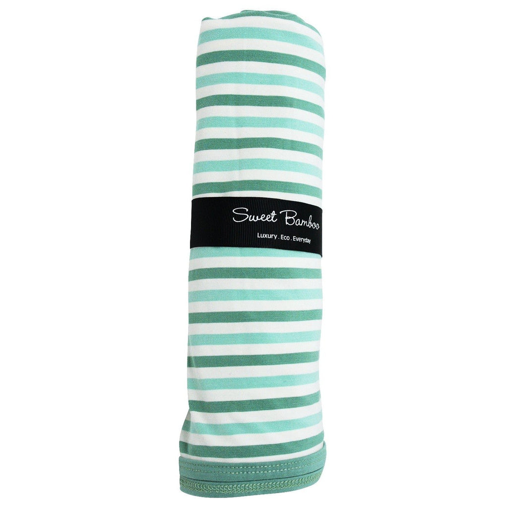 Oversized Swaddle - Green & Aqua Stripe Accessories sweetbambooclothing