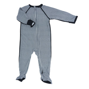 Piped Zipper Footie - Black Houndstooth - Sweet Bamboo