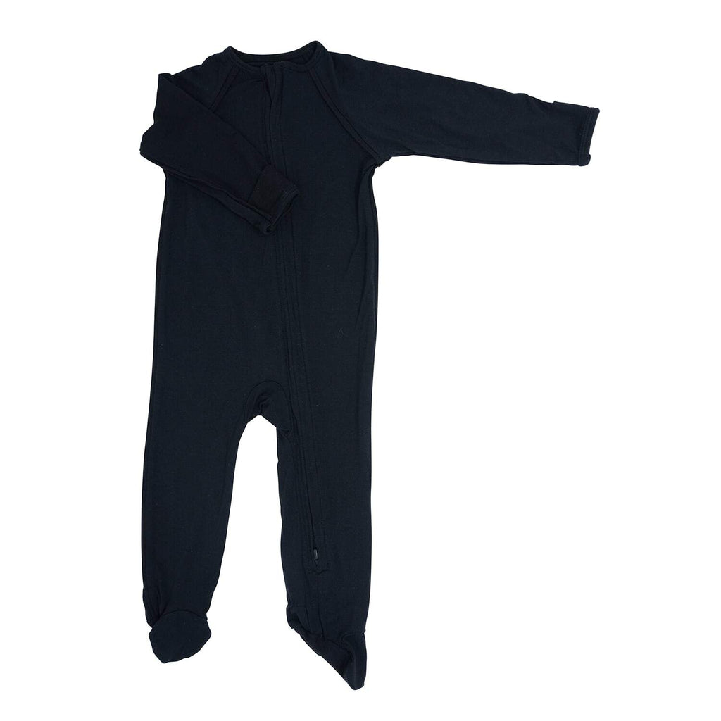 Piped Zipper Footie - Black Solid - Sweet Bamboo