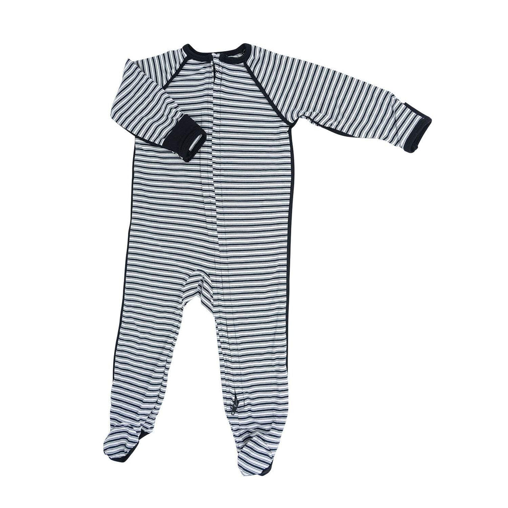 Piped Zipper Footie - Black Ticking Stripe - Sweet Bamboo