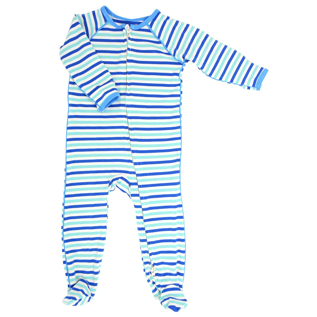 Piped Zipper Footie - Blue & Aqua Stripe Footies sweetbambooclothing